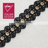 Good quality cotton lace with gold eyelet stud trim for clothes