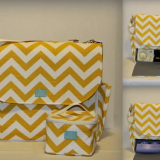 yellow chevron printed fabric cooler bag with shoulder