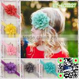 13 colors many layers sharp angle of Lotus flowers baby hair bun accessories manual handmade elastic headband MY-AC0027