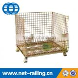 Folding stackable mesh wire storage container