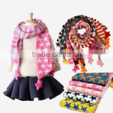 Wholesale Star and Striped Pom Pom Ball Tassel Winter Warm Keeping Acrylic Fashion Boys Girls Baby Knitted Scarf