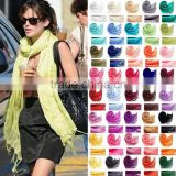 Wholesale Fringed 70% Pashmina 30% Silk Solid Color Plain Pashmina Scarf                                                                         Quality Choice                                                     Most Popular