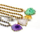 NE2372 Fashion handmade tiny gold beads & faceted crystal rondelle beaded necklace with sunflower geode druzy agate pendants