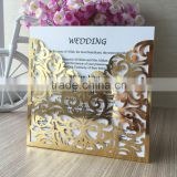 Very hot sale Pocket fold design laser cut bright gold wedding invitation card / thank you card wedding /quinceanera decorations