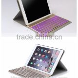 New keyboard cover case for iPad Air2 with backlit keys,folio leather case with wireless Bluetooth keyboard