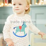 children long sleeve t shirt wooden horse picture pink little polka dots                                                                         Quality Choice