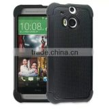 Pleasing Black Double Protection Hi-Tech DURABLE Two in One Hard and Silicon Blu Cell Phone Cases for HTC M8