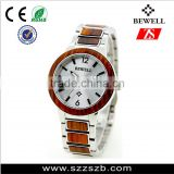 Trade assurance china factory wholesale luxury quartz watch red wood bezel wristwatch stainless steel vogue watch