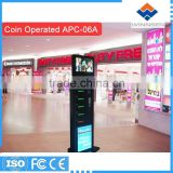 Qatar Riyal Operated with 19 inch LCD customized cell phone charging station kiosk APC-06A