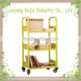 Multifunctional KD sturcture used library metal book cart steel trolley mobile book carts 2 tiers book ladder