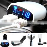 Dual LED Display USB Car Charger For Samsung Galaxy S6 Note 5 4 iPhone HTC White