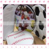 Coin shape brochure design mini football ball basketball brochure , football basketball baseball sport fans collection book .