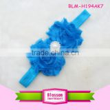 Wholesale headwear Baby Girl Toddler Blue Lace Stretch Fabric Pearl Flower Elastic Hair Headband Soft Kids Ribbon Headband
