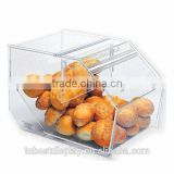3 tiers chocolate candy acrylic containers for food/clear acrylic bulk food bin/acrylic bread box with hinged door and trays