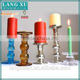 LXHY-EA013 wholesale pillar candle holder wedding decorative electroplated tall long-stemmed bead glass candle holder