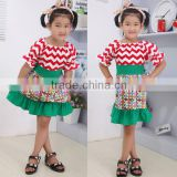 wholesale Christmas cotton dress for teenagers red and green knitted sweater girls Christmas dresses