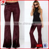 2016 New Products Women apparel Velvet Apparel Flare Pants Ladies Bell Bottom Pants                                                                         Quality Choice