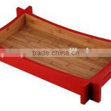 Bamboo Wooden Tableware Serving Tray with Colorful Side for Salad and Sushi and Food Suitable for Home and Hotel and Restaurant
