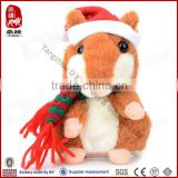 2016 Cheap Christmas gift plush mouse with hat custom cute soft stuffed christmas plush toy