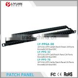 LY-PP6A-08 24 Port Cat6a Cat6 Cat5e Patch Panel Gigabit RJ45 LAN Ethernet/ Network Rack Mounted 0.5U Krone&110 Daul IDC