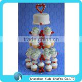 Personalized plexiglass 5 tier wedding cupcake stand with a cake on the top, clear acrylic cake stand