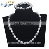 11mm silver grey color AA grade baroque irregular natural pearl set designs