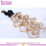 Loose Curly I Tip Hair Extensions two tone Color Remy Human Hair Pre Bonded Hair Extensions