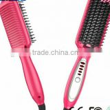 Pink 3 In 1 Professional Hair Salon Equipment Electric Hair Straightener Brush With Hair Curler