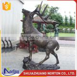 Life size brown bronze deer statue used for park NTBH-043LI