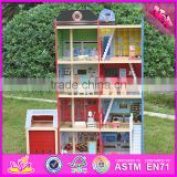 2016 Hot sale baby wooden model doll house,pretend toy kids wooden model doll house W06A138
