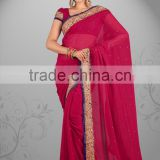 Elegant Red Color Bridal Wear Chiffon Saree