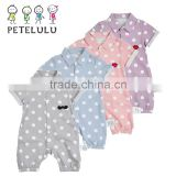 Front Button Open Polo Collar 2 Year Old Baby Rompers Intant Bodysuit