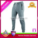 2017 Wholesale gray colour dress sports pants/running pants mens jogger pants with cheap price and zipper pockets