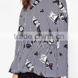 Runwaylover EY2374B Latest Designs Women Formal Blouse Blue Stripe Crane Print Animal Print Drop Shoulder 3/4 Sleeve Blouse