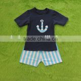 boys navy super cotton light blue stripe shorts set admiralty anchor t-shirt with shorts sports outfits
