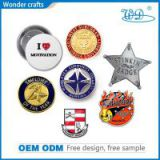 2d star shape pressing aluminum alloy fake gold silver safety pin employee recognition badge
