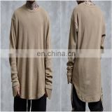 2018 SS Mens Ripped Thumb Hole Long Sleeve Elongated Lengthen Long Coton Round Tee