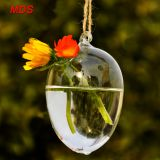 Lovely borosilicate hanging egg shaped glass vase for decoration