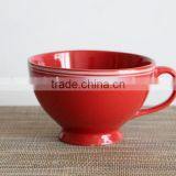 2016 high quality ceramic bowl with handle,soup mug