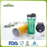 China wholesale food grade 450ml double wall stainless steel inner plastic outer office coffee mug with leakproof lid