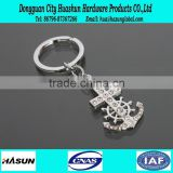Newest design anchor shape rhinestone metal keychain