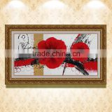 hand painted Red flower modern home decorative canvas wall art framed oil painting wz-289