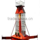 Double ladder anti-rotating hydraulic telescopic cylinder aerial work platform
