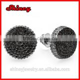 Fathers Day Gift round shape Micro Pave black gold earring for men