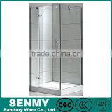 Square blind via hold glass design adjustable aluminium profile acrylic base or tray hinge opened locker room shower