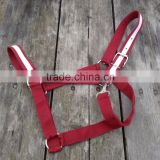 Draft horse size nylon halter burgundy & white, snap on cheek/ veterinary instruments and equipment