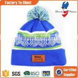 custom winter hat knitted beanies with leather patch                                                                                                         Supplier's Choice