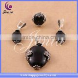 new trendy high quality thai silver jewelry set natural black agate jewelry fashion jewelry ( 0695T3)