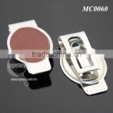 Promotional Oval Shaped Stainless Steel Metal Brown Leather Money Clip