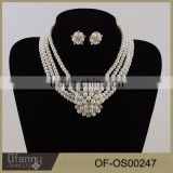 2016 Hotsale Fashion Accessory Bridal Wedding Pearl Jewelry Set Yiwu Market Pearl Crystal Alloy Necklace Wholesale